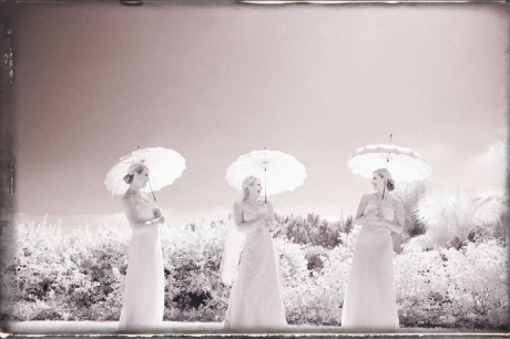 Bride and Girls in infrared at Laguna Cliffs Wedding