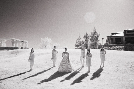 Infrared shot of Bride and bride's maids at Black Gold Golf Club