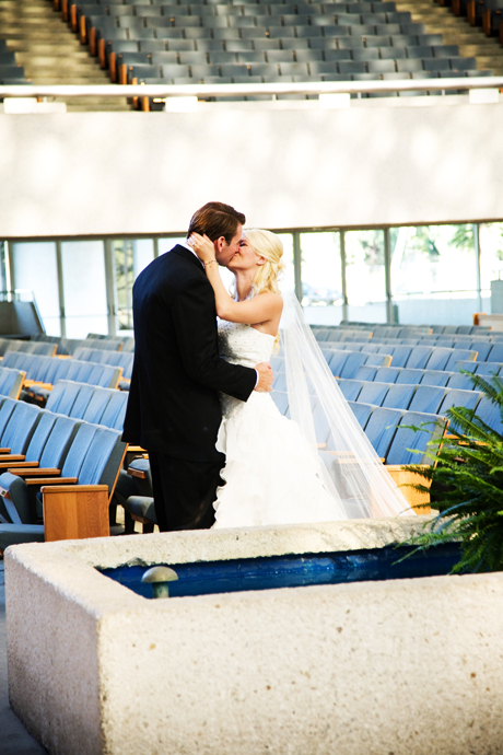 Bride and Groom in the Crystal Cathedral