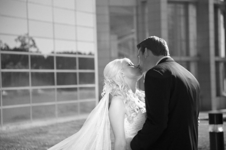 Bride and Groom kissing at the Crystal Cathedral