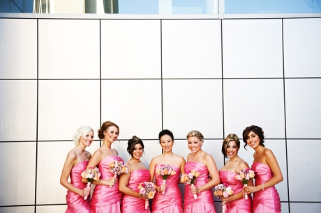 Pretty Bride's Maids at the Crystal Cathedral