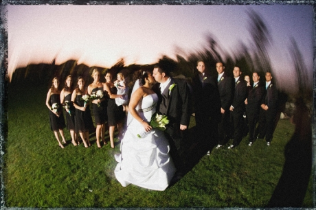 Long Exposure Fisheye shot of Bridal Party at Black Gold Golf Club