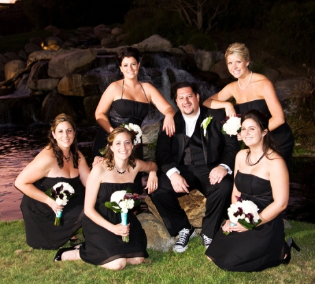 Groom with Bride's Maids at Black Gold Golf Club Wedding