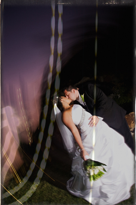 Night Shot of Bride and Groom at Black Gold Golf Club