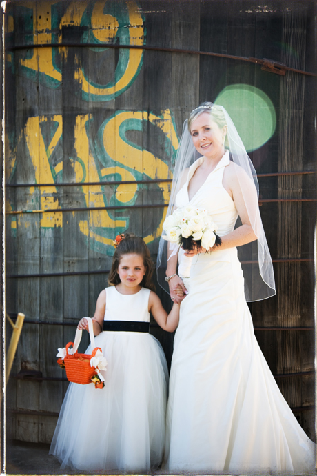 Bride and Flower Girl at Rancho Las Lomas Wedding