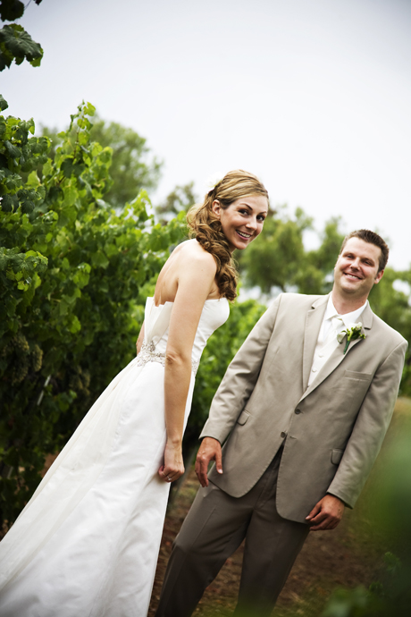 Bride and Groom togehether at their Gainey Vineyard Wedding!