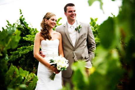 Bride and Groom at Gainey Vineyard Wedding