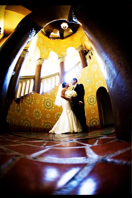 Bride and Groom at the Santa Barbara Courthouse