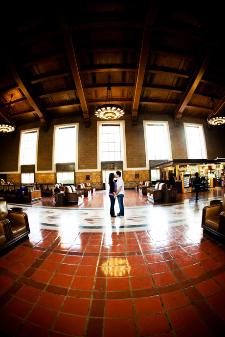Engagement Pictures at Los Angeles Union Station