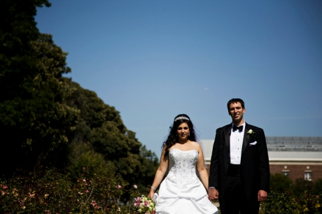 Bride and Groom at Exposition Rose Garden