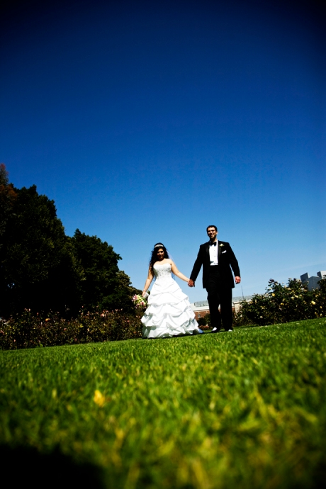 Bride and Groom at Exposition Rose Garden Wedding