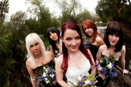 Bride and Bride's Maids at Calamigos Ranch