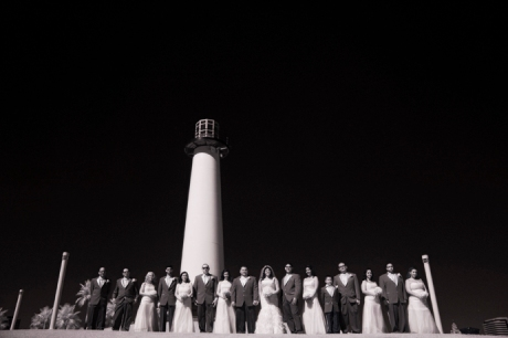 Infrared Wedding Photography at Parkers' Lighthouse in Long Beach