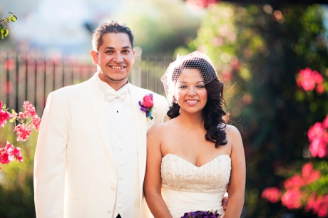 Bride and Groom at Los Angeles River Gardens