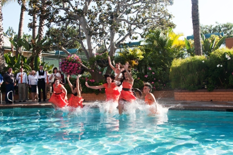 Bride's Maids jump in pool at the Newport Radisson