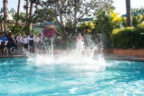 Bride's Maids jump in pool at the Newport Beach Radisson