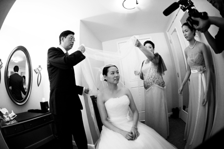 Bride getting ready for her wedding at the Huntington Beach Hyatt