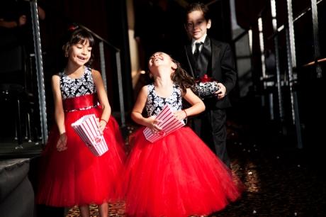 Flower Girls at Movie Theater Wedding Ceremony