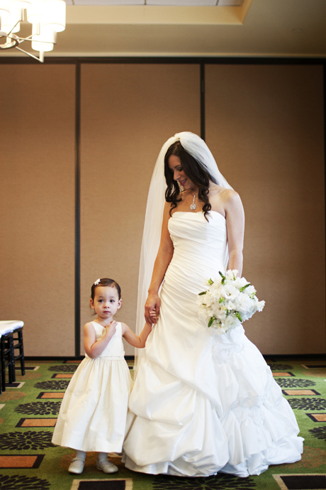 Bride with Flower Girl at Aliso Viejo Conference Center