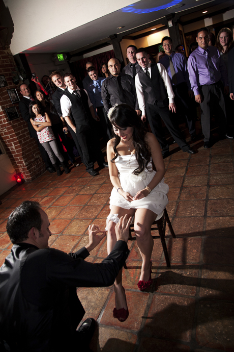 Garter Toss at Orange County Wedding Reception