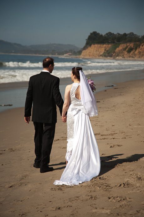 Bride and Groom at Butterfly Beach in Santa Barbara