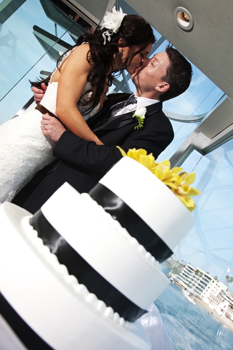 Cake Cutting on Electra Cruises Wedding