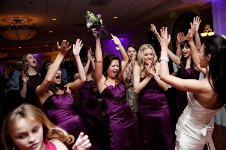 Bouquet Toss at Turnip Rose Wedding Reception