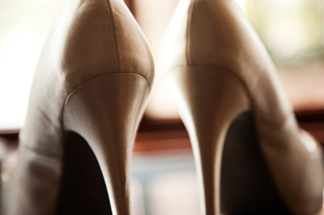 Bride's shoes at Ayres Suites
