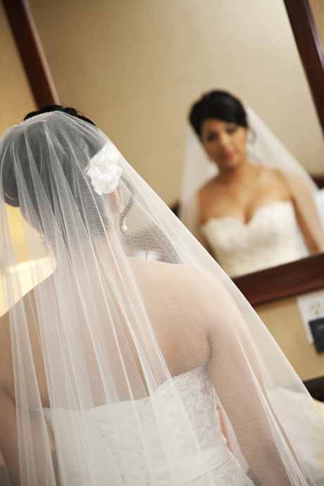 Bride getting ready at the Ayres Suites