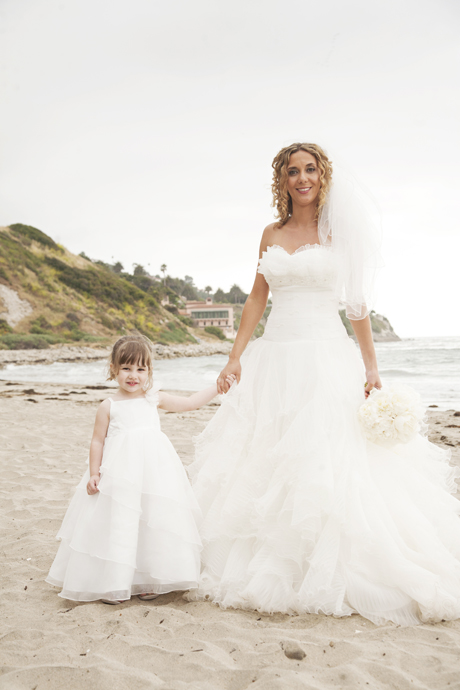 Bride and Flower Girl at Malaga Cove