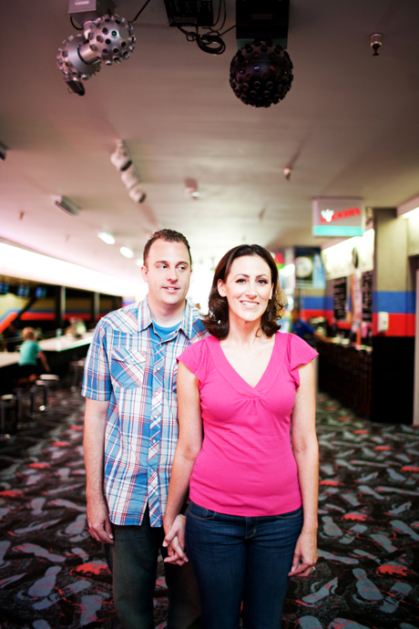 Engagement Pictures at Bowling Alley