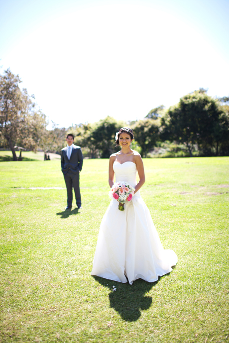 Bride and Groom at the Huntington Beach Library