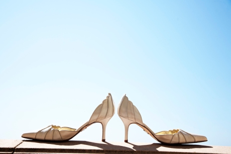 Bride's shoes at the Ritz Carlton Laguna Niguel