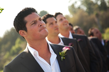 Groom awaits his Bride at Mission Viejo Country Club Wedding Ceremony