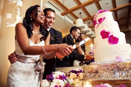 Cake Cutting at Terranea Resort Wedding Reception