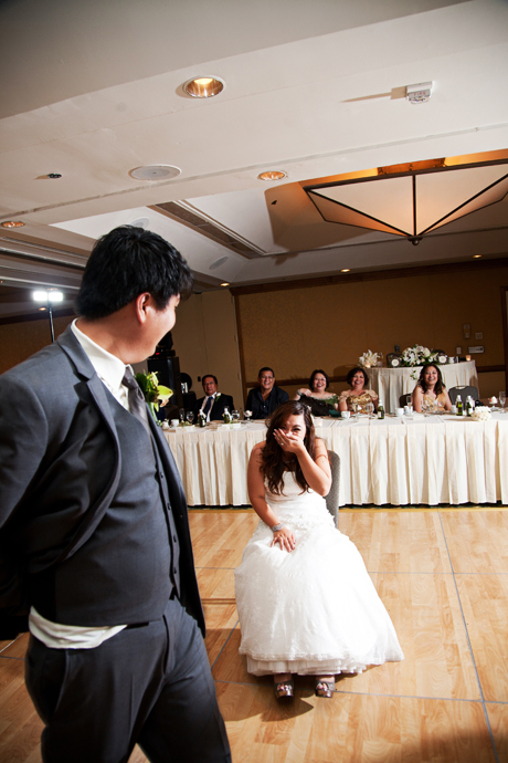 Garter Toss at Long Beach Hyatt Regency Wedding Recption