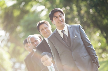 Groom and Guys at Wayfarers Chapel