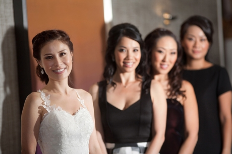 Bride and girls at the Newport Beach Marriott