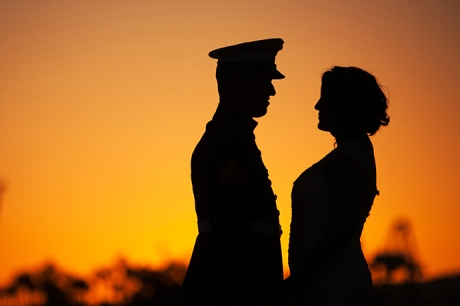 Bride and Groom at Sunset Long Beach