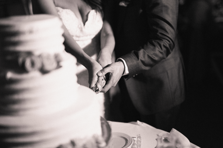 Bride and Groom Cut the Cake Wedding