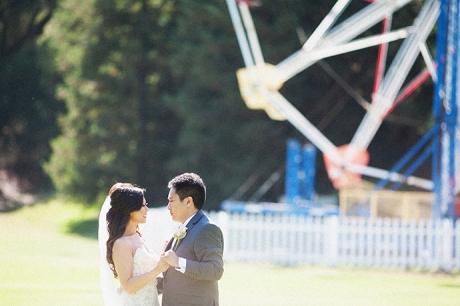 Bride and Groom by Ferris Wheel