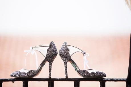 Bride's Shoes at the Hyatt Santa Barbara