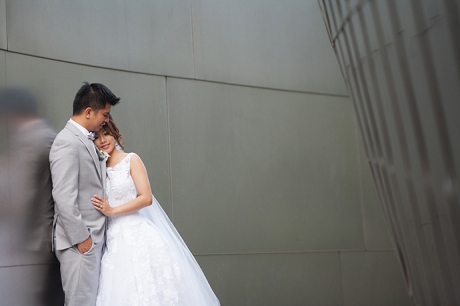 Bride and Groom at Walt Disney Concert Hall