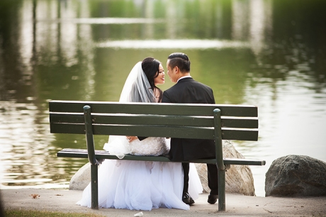 Bride and Groom on Bench
