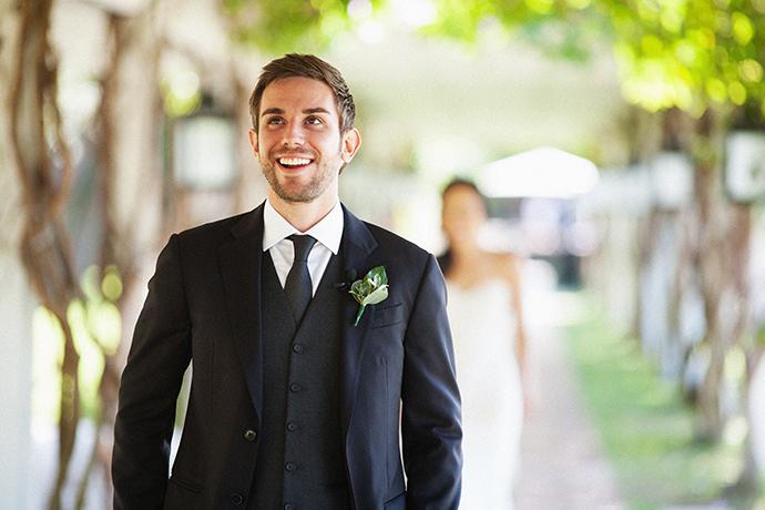 Bride and Groom First Look at Newport Beach Hyatt